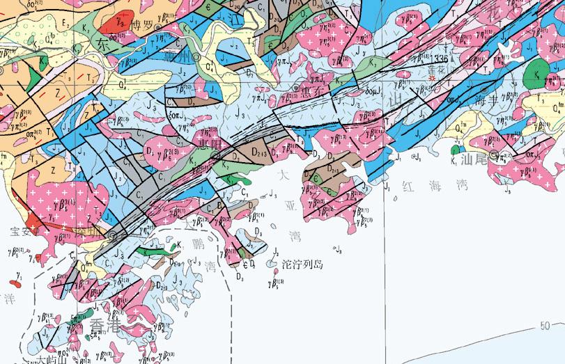 从下图(图1)可以看到长乐-南澳断裂平行深圳市区,而莲花山断裂带正好