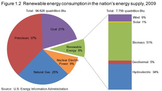 美国能源消费结构中可再生能源所占的比例