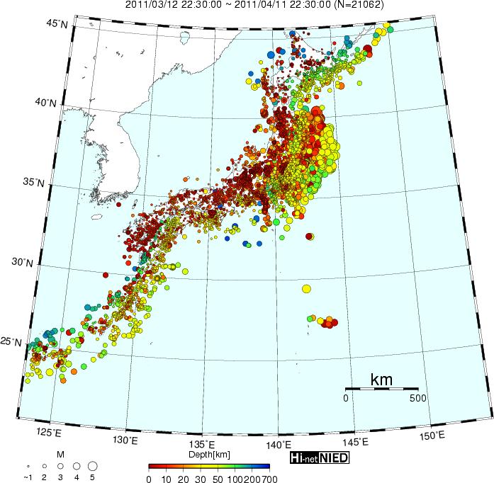 博文 [转载]日本震后一个月内的地震震源分布图
