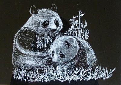 熊猫吃竹子可爱素描