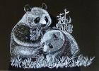 「成长花絮:女儿制作的刮板作品熊猫选送年度画展」