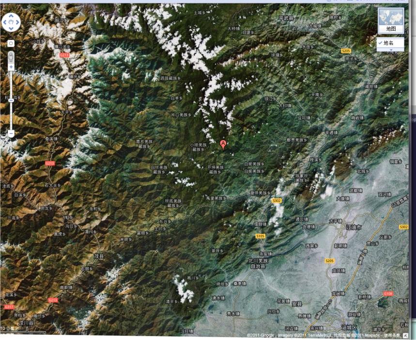 3°e;即四川省北川县开坪乡与小坝乡之间, 见图中的红点标志),震级为8