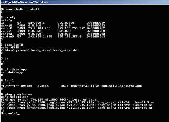 图 3. 使用 adb shell 命令-Android平台简介开发