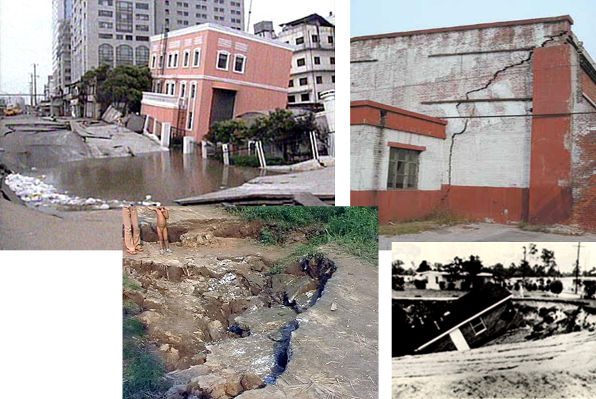照片1 建筑物倾斜、裂缝、倒塌及地面裂缝 我国沿海地区,地面沉降由过去的点发展成面,又连成片,目前已形成区域巨型漏斗洼地。地面沉降一般具有缓变性、滞后性、不可逆性等特点,灾害治理难度大,海岸带城市表现尤为突出。由于自然地理和地质环境的特殊性,对沿海地区水资源和地面沉降进行系统管理和防治,使资源、环境、经济和社会有机协调发展,以实现资源持续利用、环境良性循环、经济和社会持续发展,这已成为我国沿海地区实现可持续发展战略的一项十分重要和紧迫的任务。 参考文献 [1]侯艳声,郑铣鑫,应玉飞,中国沿海地区可持续发