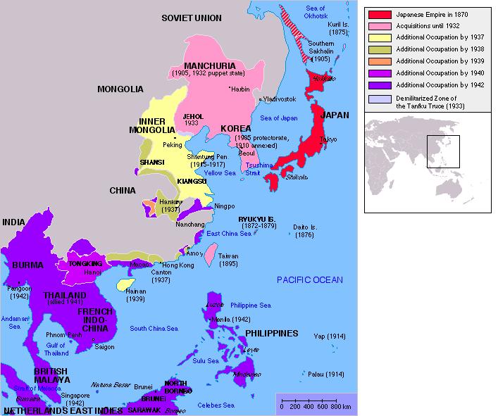 二战日本占领中国地图