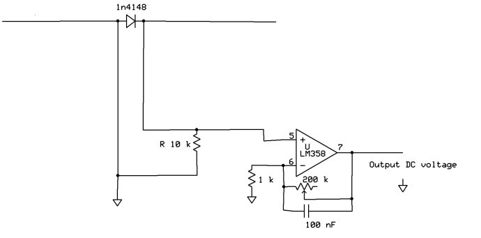 DC的输出电压还可以用LM358上的另一个运放在进行一次放大。图中的100nF电容起到对整流后的电信号进一步滤波的作用。 这样就大功告成啦!我们可以把它放到微波炉附近来探测泄露出来的微波强度。 微波炉未开之前:
