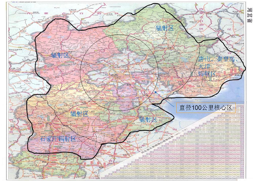 秦皇岛市和天津市对200公里外区域的城市辐射