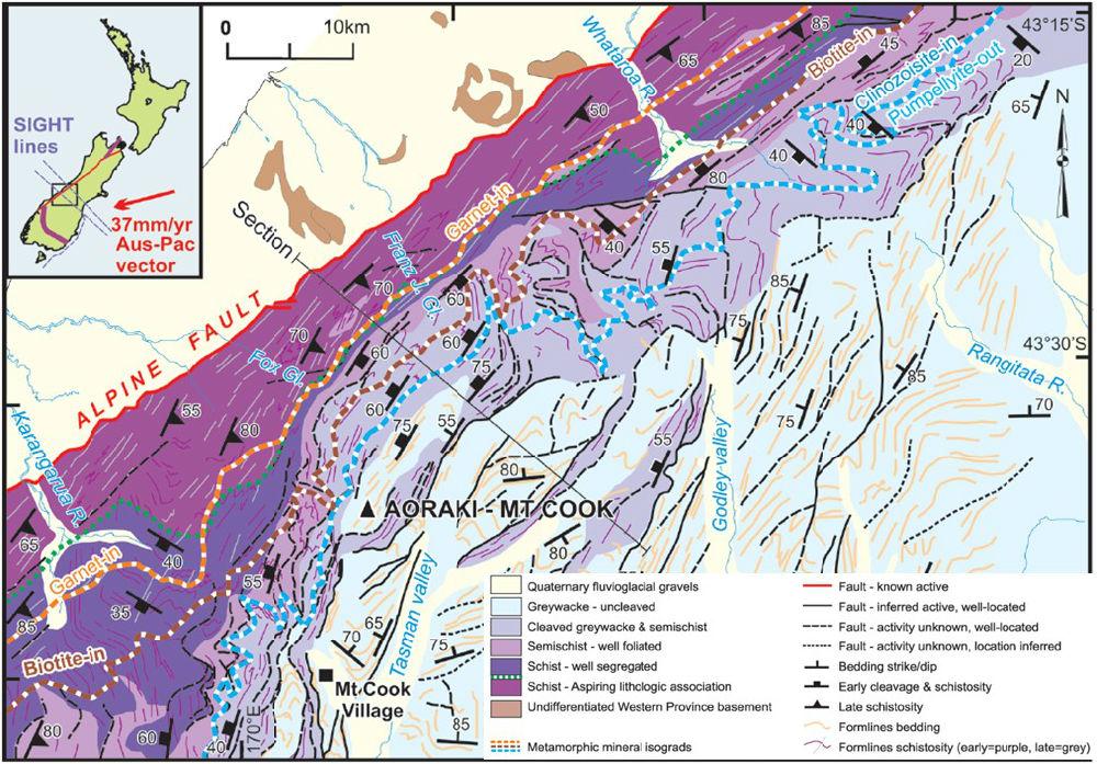新西兰/图6 新西兰地质图和运动矢量图(据SimonC. Cox and Rupert...