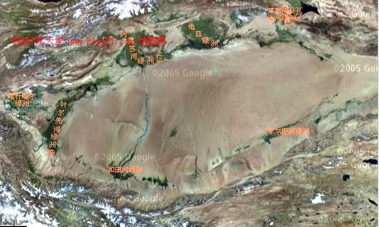 塔里木盆地(两山夹一盆)卫星图片