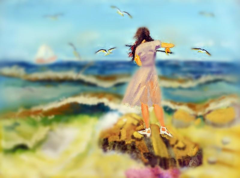 油画临摹高清素材大海
