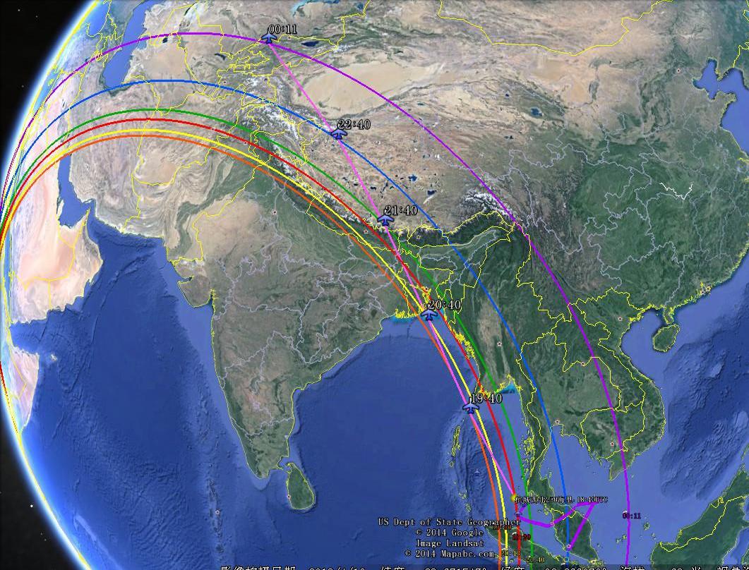 图8 推测南线航迹分析图示 四、小结 对Inmarsat-3 F1与 MH370握手信息时滞数据的精确推算表明,MH370只可能走图6和图8中的南、北两条航线,但是南向航线必须穿越印尼领空,无法避开印尼军方雷达的监视。北向航线要经过孟加拉国、印度、尼泊尔、中国和吉尔吉斯5个国家的领空,但是,沿线经过的都是军事不敏感地带,不一定有雷达覆盖。最关键的是,按450节(835公里/小时)的航速计算得出的航线直接通往吉尔吉斯的BESHTASH山谷,而那里有明确的坠机线索。各国搜救力量在印度洋投入那么多的人力、物力