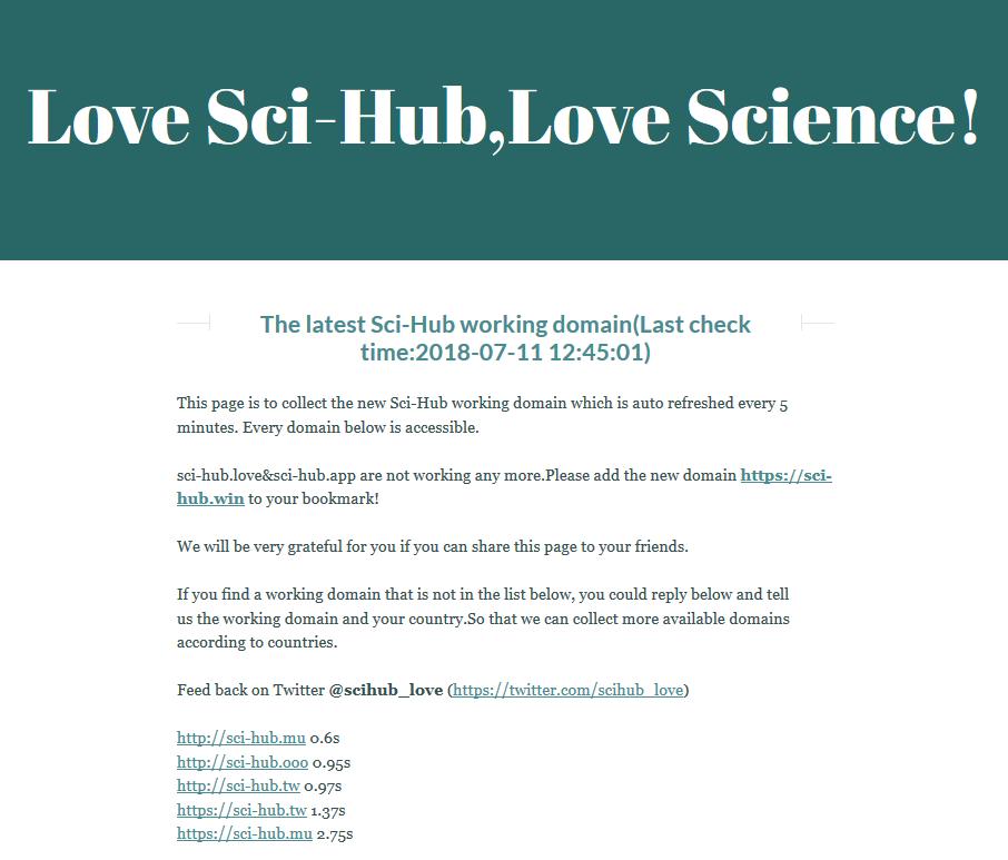 科学网—Sci-hub实时更新网站- 熊朝亮的博文