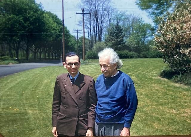 Einstein and Godel Original color slide  Kodachrome mount  Princeton 1947-12-05.jpg