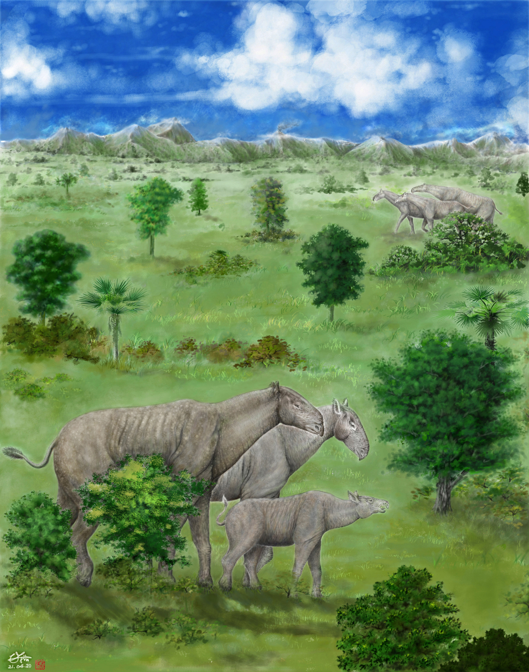 Two herds of giant rhinos are passing through a lowland valley of the Tibetan Pl.jpg
