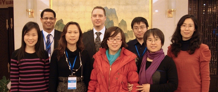 Dr. Daniel Broaddus (Senior Editor, Top left) and Benjamin Shaw (Global Director, next to Dr. Broaddus) of Edanz Group China with the editorial staff of the Chinese Journal of Aeronautics